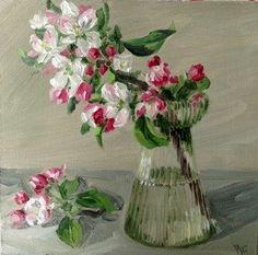 Apple blossom in hyacinth jar - Original Fine Art for Sale - © Penny German