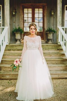 Long sleeved weddding dress Two Pair Photography - twopairphotography.com
