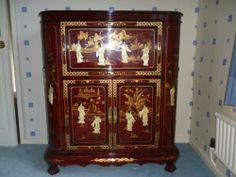 Oriental Laquered Rosewood Drinks Cabinet | eBay