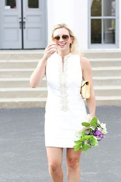 @cedarandrush in this little white number, the Lilly Pulitzer Alexa High Collar Shift Dress. Can you say GORG?