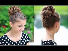 Double French Messy Bun | Updo Hairstyles - YouTube