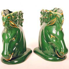 Vintage Bookends Green Ceramic Horse Head Planters $135 luckystargallery.com