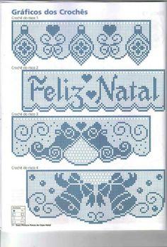 Filet Crochet Charts, Crochet Borders, Crochet Patterns, Christmas Cross, Crochet Doilies, Machine Embroidery Designs, Needlework, Diy And Crafts, Cross Stitch