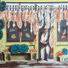 """""""The Produce Shop"""" by Edward Bawden. Lithograph for the 1947 issue of 'Alphabet & Image'"""
