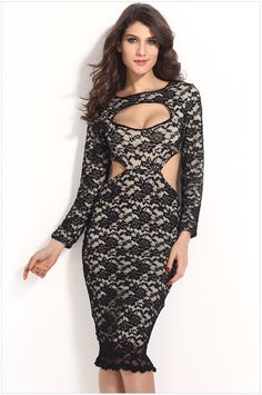 c4169cf539 Women s sexy round neck hollow out low-cut long sleeve leak waist  hip-hugger slim fit lace dresses