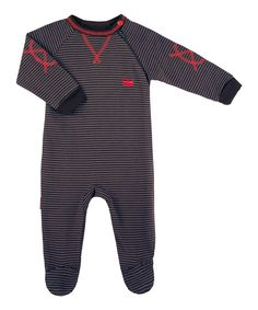 Look what I found on #zulily! Black & Red Stripe Academy Organic Footie - Infant by Kushies #zulilyfinds