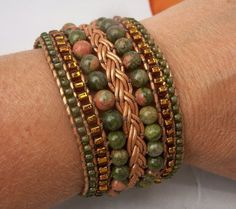 Green & Orange Beaded Leather Cuff Bracelet by TNine Design