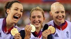Dani King, Laura Trott and Jo Rowsell celebrate their victory