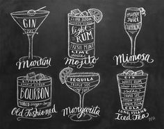 Lily & Val – Guide To Cocktails Print - Bar Cart Art- Chalkboard Art - Kitchen Art - Bartender Gift - Chalk Art