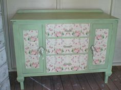 Shabby 'Vicarage Green' Decoupaged Sideboard Dresser Buffet Cabinet Cupboard Chest. £140.00, via Etsy.