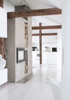 White Concete/Fireplace/Kitchen