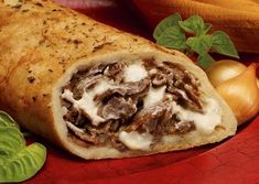 Philly Steak and Cheese Stromboli Ingredients 1 pound beef rib steak, sliced thin Salt and freshly ground black pepper All-purpose flour, for rolling dough Sandwich Recipes, Pizza Recipes, Beef Recipes, Italian Recipes, Dinner Recipes, Cooking Recipes, Dinner Ideas, Recipies, Yummy Recipes