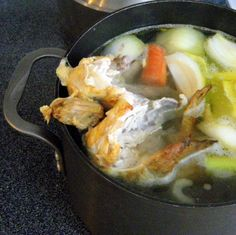 After your done with your store bought rotisserie chicken, make chicken broth from the bones!!! So clever!