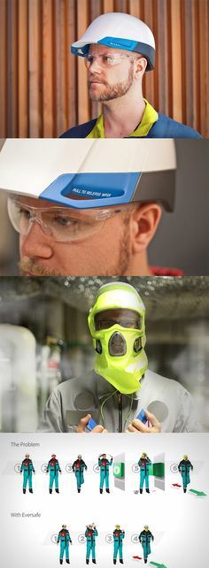 The 'Eversafe', is designed to be a sturdy helmet with an emergency full-face mask concealed within, the helmet can be a critical time and lifesaver in the case of a gas leak... READ MORE at Yanko Design !