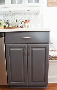 two-tone gray and white painted kitchen cabinets, LoveLee Homemaker featured on Remodelaholic Kitchen Island Makeover, Wood Kitchen Island, Kitchen Cabinets Decor, Cabinet Decor, Painting Kitchen Cabinets, Kitchen Paint, Kitchen Redo, Kitchen Tips, Kitchen Remodel
