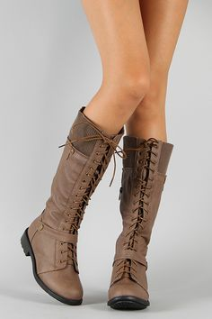 Pack-51 Lace Up Military Knee High Boot