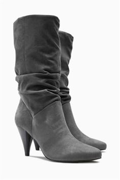 fece3bd8b Grey Slouch Cone Heel Boots £50 textile Block Heel Boots, Block Heels, Grey