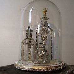 Rhinestone embellished glass bottles and dome by AnitaSperoDesign