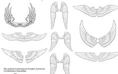 9 different shapes of wings in black line hand drawn style. Enjoy!!