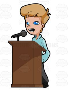 Man Standing Behind A Podium Talking Into A Microphone #address #adult #adultmale #blueeyes #blueshirt #delivery #electro-acoustictransducer #grownup #human #humanbeing #individual #lecture #lecturing #lightbrownhair #male #maleperson #man #microphone #mike #oralcommunication #person #platform #podium #publiclecture #pulpit #soapbox #speaking #speech #talk #talkingto #vector #clipart #stock