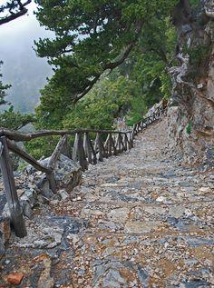 Steep stairs at the beginning of Samaria Gorge, Crete Island, Greece