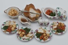 miniature food roast chicken dinner set for four by amanspeak