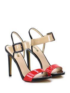 GUESS - Sandalo alto - Donna - Sandalo alto in vernice con cinturino su collo piede e suola in gomma. Tacco 120, platform 15 con battuta 105. - NUDE\RED - € 140.00