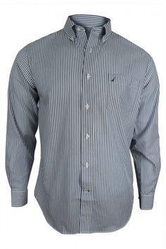 1a148998644c Nautica Men s Moroccan Blue Striped Long Sleeve Dress Shirt