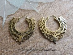 Tribal Brass Earrings Bohemian Gypsy Hoops by ShankaraTrading
