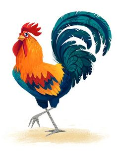 on Illustration Served Chicken Drawing, Chicken Painting, Chicken Art, Rooster Illustration, Chicken Illustration, Cute Illustration, Rooster Art, Cartoon Rooster, Creature Design