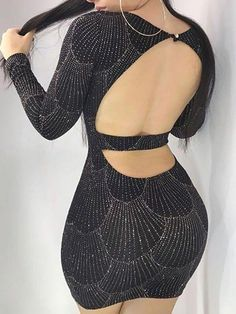 Shop Bodycon Dresses Sexy Hot Stamping Open Back Bodycon Mini Dress Sexy Outfits, Night Outfits, Trend Fashion, Look Fashion, Womens Fashion, Tight Dresses, Sexy Dresses, Fashion Dresses, Fashion Clothes