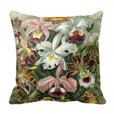 Shop Vintage 1865 Botanical Orchids Illustration Throw Pillow created by ArtStudioPillows. Custom Pillows, Decorative Throw Pillows, Leaf Flowers, Orchid Flowers, Flower Pillow, Printed Cushions, Retro Floral, Vintage Flowers, Art Forms