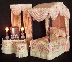 DOLLHOUSE CANOPY BEDROOM SETS - English garden. How lovely
