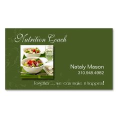 """Nutrition Coach"" Healthy Eating, Weight Loss Business Card. I love this design! It is available for customization or ready to buy as is. All you need is to add your business info to this template then place the order. It will ship within 24 hours. Just click the image to make your own!"