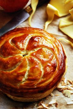 Galette des rois - traditional French cake eaten in January in France. Find it here in English: http://allrecipes.com/recipe/galette-des-rois/