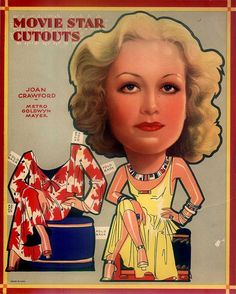 Old Hollywood paper dolls: Joan Crawford #recortable #scissorwork #papertoy- Carefully selected by GORGONIA www.gorgonia.it