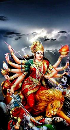 Goddess Durga in which she overcomes different evil presences. With the recitation of each one verse, offerings are made in the conciliatory flame summoning the Goddess. Shiva Parvati Images, Durga Images, Shiva Shakti, Durga Maa Pictures, Lord Durga, Durga Ji, Lord Vishnu, Lord Shiva, Maa Durga Photo