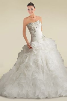 Spectacular Ball Gown Wedding Dress with Beaded Appliques and Cascading Ruffles