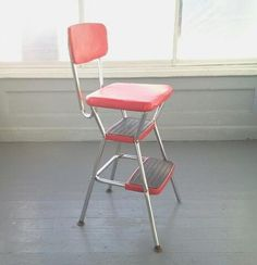 Cosco Kitchen Chair, Chair And Step Stool Combo, Red Vinyl And Chrome