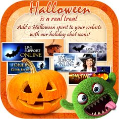 Customize your Live Chat button to the the theme of your site design, such as company logo and color branding, or simply choose from different festive designs to fit with holidays or other observances. http://www.providesupport.com/product/chat-icons-halloween-en.html