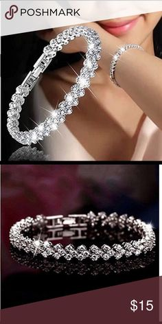 """Roman Style Silver & Crsyal Bracelet 6.5"""" Attractive Silver And Crystal Bracelet. Very nice has some weight to it and Clasp Lock Jewelry Bracelets"""