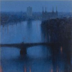 Andrew Gifford - Looking West from Albert Embankment III - 2009 Oil on canvas 48 x 48 ins (121.92 x 121.92 cms)
