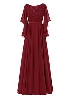 Dresstells Womens Long Bridesmaid Dress Chiffon Mother Dress Evening Gown Burgundy Size 26W *** To view further for this item, visit the image link.