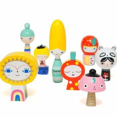 PRE-ORDER - The toy will ship first week of October Meet Mr Sun & Friends, a set of 8 handmade wooden dolls. Let's introduce the ladies, the largest Miss Beehive, mushroom, strawberry, Panda girl & Bl