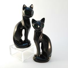 Vintage Cats with Green Eyes, Lucky Black Cats, Cat Lover Gift, 60s Ceramic Cat Ornaments, Lucky Black Cats, Gift Her Woman Lady by PylonVintage on Etsy https://www.etsy.com/listing/265101599/vintage-cats-with-green-eyes-lucky-black