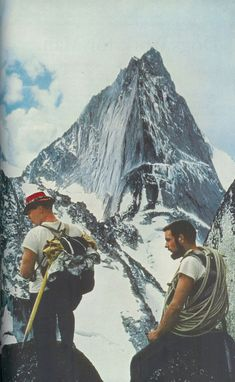 Climber Swiss Alps from vintage archive of National Geographic