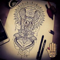 mandala tattoo idea, elephant tattoo design idea, lotus flower tattoo design, lace dotwork tattoo drawing