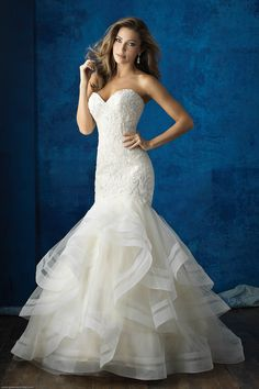 Wedding Dresses | Allure 9364 | Allure Bridals by Gateway Bridal & Prom | SLC | Utah | Worldwide Shipping | This strapless, ruffled gown is a glamorous choice year-round.   FABRIC:Tulle and Beaded Embroidery  COLORS:White/Silver, Ivory/Silver, Gold/Ivory/Silver  SIZES:2-32