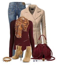 """And Oxblood all Over"" by exxpress ❤ liked on Polyvore featuring Silver Jeans Co., J.TOMSON, Belstaff, Black Rivet, Rebecca Minkoff, Trendy Too, Chan Luu, OPI, Kate Spade and oxblood"