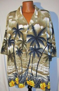 VERSE Men's Hawaiian Camp Shirt Palm Trees Ocean Size 5X  Listed for charity